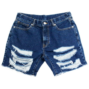 아임낫어휴먼비잉 BASIC LOGO DESTROYED DENIM SHORTS - Blue