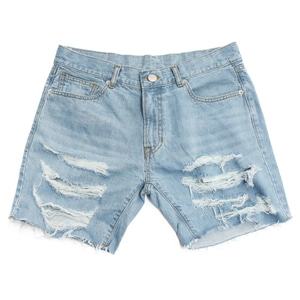 아임낫어휴먼비잉 BASIC LOGO DESTROYED DENIM SHORTS - Sky Blue